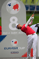 Phachara Khongwatmai (Asia) on the 8th tee during the Friday Foursomes of the Eurasia Cup at Glenmarie Golf and Country Club on the 12th January 2018.<br /> Picture:  Thos Caffrey / www.golffile.ie