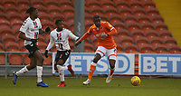 Blackpool's Donervon Daniels shields the ball from  Charlton Athletic's Tariqe Fosu and Joe Aribo (left) <br /> <br /> Photographer Stephen White/CameraSport<br /> <br /> The EFL Sky Bet League One - Blackpool v Charlton Athletic - Saturday 8th December 2018 - Bloomfield Road - Blackpool<br /> <br /> World Copyright &copy; 2018 CameraSport. All rights reserved. 43 Linden Ave. Countesthorpe. Leicester. England. LE8 5PG - Tel: +44 (0) 116 277 4147 - admin@camerasport.com - www.camerasport.com