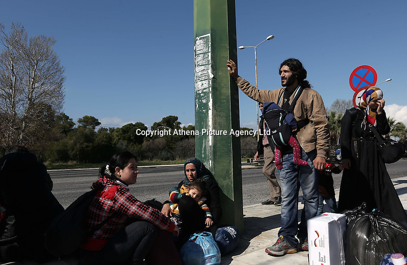 Pictured: Refugees outside the Helliniko camp Friday 26 February 2016<br />Re: Refugees have been turning up at the Helliniko refugee camp in the outskirts of Athens, Greece.