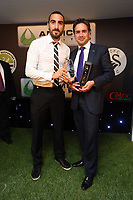 Thursday 16 May 2013<br /> Pictured L-R: Chico Flores with Infiniti sponsor<br /> Re: Swansea City FC footballer of the year awards dinner at the Liberty Stadium.
