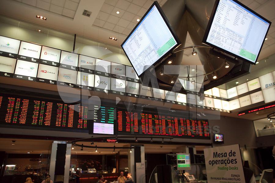 SAO PAULO, SP, 28 DE AGOSTO DE 2012 - ECONOMIA - Indice bovespa se mantem estavel apesar da queda das bolsas europeias nesta terca-feira (28), influenciada pelo anuncio da contracao do PIB espanhol e pelo fraco indice de confianca do consumidor norte-americano.  FOTO RICARDO LOU - BRAZIL PHOTO PRESS