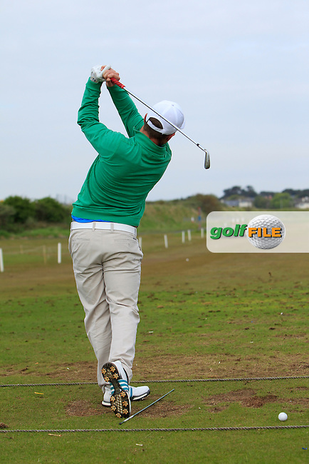 Jack Hume (Naas) on the driving range warming up before Round 4 of the Flogas Irish Amateur Open Championship at Royal Dublin on Sunday 8th May 2016.<br /> Picture:  Thos Caffrey / www.golffile.ie