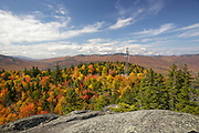 Scenic view from Chapel Rock on Pine Mountain in Gorham, Hampshire USA during the autumn months