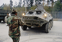 - NATO in Germany; U.S.Army, Foreign Materials Training Detachment (FMTD) at Grafenwoehr training area, Soviet BTR infantry fighting vehicle  (October 1985)<br />