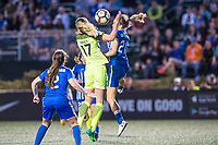 Boston, MA - Saturday April 29, 2017: Beverly Yanez and Christen Westphal during a regular season National Women's Soccer League (NWSL) match between the Boston Breakers and Seattle Reign FC at Jordan Field.