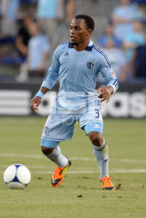 Korde Aiyegbusi (3) forward Sporting KC in action..Sporting Kansas City were defeated 3-0 by Montpellier HSC in an international friendly at LIVESTRONG Sporting Park, Kansas City, KS..