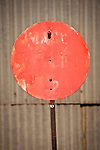 Round red switch signal flag, Nevada Northern Railway, East Ely yards, Nev.