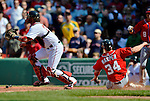 10 June 2012: Washington Nationals outfielder Bryce Harper slides home safely during a game against the Boston Red Sox at Fenway Park in Boston, MA. Harper's slide scored the game winning run in the 9th inning as the Nationals defeated the Red Sox 4-3 to sweep their 3-game interleague series. Mandatory Credit: Ed Wolfstein Photo