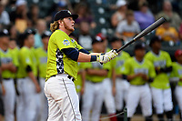 Dash Winningham of the Columbia Fireflies participates in the first round of the Home Run Derby as part of of the South Atlantic League All-Star Game festivities on Monday, June 19, 2017, at Spirit Communications Park in Columbia, South Carolina. (Tom Priddy/Four Seam Images)
