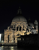 View of the Santa Maria della Salute after dark from the Gritti Palace Hotel across the Grand Canal in Venice, Italy on Thursday, October 21, 2010..Credit: Ron Sachs / CNP
