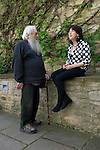 Writer Frances Welch with Oxford resident Dimitri Kornhardt (who's great great grandparents left Russia for the UK) at Christ Church during the Sunday Times Oxford Literary Festival, UK, 2-10 April 2011. <br />