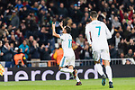 Lucas Vazquez of Real Madrid celebrating his score during the Europe Champions League 2017-18 match between Real Madrid and Borussia Dortmund at Santiago Bernabeu Stadium on 06 December 2017 in Madrid Spain. Photo by Diego Gonzalez / Power Sport Images