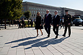 General Joseph Dunford, chairman of the Joint Chiefs of Staff, from right, Jim Mattis, United States Secretary of Defense, U.S. President Donald J. Trump and first lady Melania Trump participate in a ceremony to commemorate the September 11, 2001 terrorist attacks, at the Pentagon in Washington, D.C., U.S., on Monday, Sept. 11, 2017. Trump is presiding over his first 9/11 commemoration on the 16th anniversary of the terrorist attacks that killed nearly 3,000 people when hijackers flew commercial airplanes into New York's World Trade Center, the Pentagon and a field near Shanksville, Pennsylvania. <br /> Credit: Andrew Harrer / Pool via CNP