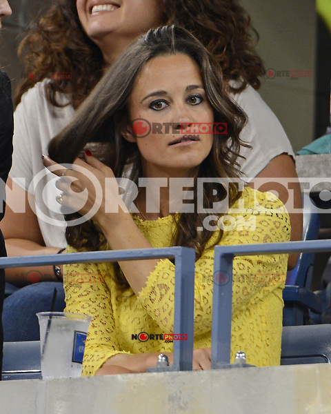 FLUSHING NY- SEPTEMBER 5:  Pippa Middleton is sighted watching the Federer Vs Berdych match on Arthur Ashe stadium at the USTA Billie Jean King National Tennis Center on September 5, 2012 in in Flushing Queens. Credit: mpi04/MediaPunch Inc. ***NO NY NEWSPAPERS*** /NortePhoto.com<br />