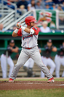 Williamsport Crosscutters catcher Rafael Marchan (13) at bat during a game against the Batavia Muckdogs on June 22, 2018 at Dwyer Stadium in Batavia, New York.  Williamsport defeated Batavia 9-7.  (Mike Janes/Four Seam Images)