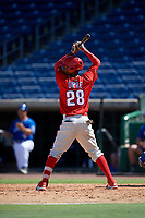 Philadelphia Phillies Guarner Dipre (28) at bat during a Florida Instructional League game against the Toronto Blue Jays on September 24, 2018 at Spectrum Field in Clearwater, Florida.  (Mike Janes/Four Seam Images)
