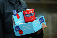 Pictured: A poppy appeal fundraising box. Saturday 11 November 2017<br />Re: Armistice Day, two minutes were observed to mark remembrance at Castle Square in Swansea, Wales, UK.