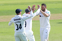 Tim Bresnan of Yorkshire celebrates with his team mates after taking the wicket of Daniel Lawrence during Essex CCC vs Yorkshire CCC, Specsavers County Championship Division 1 Cricket at The Cloudfm County Ground on 4th May 2018