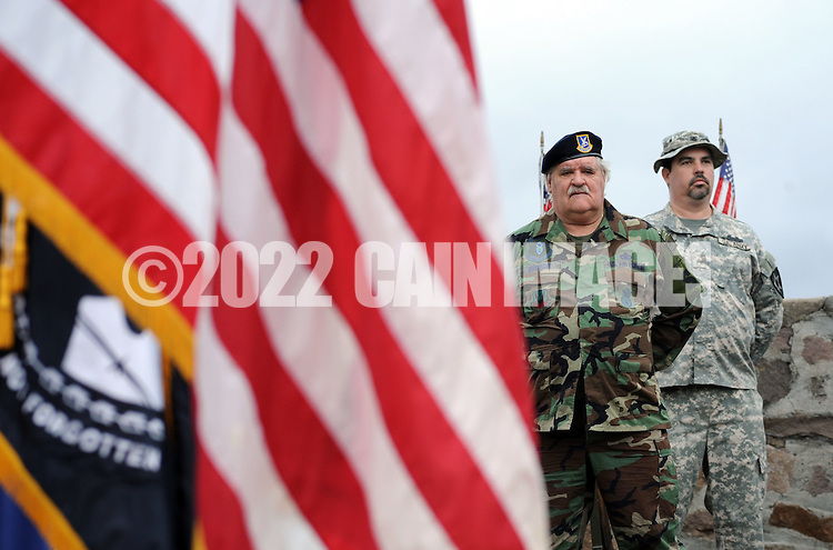 Honor guard members John Bensch (left) of Yardley, Pennsylvania and Sean Burnett of Levittown, Pennsylvania stand at attention during the Yardley Veteran's Day ceremony Wednesday November 11, 2015 in Yardley, Pennsylvania.  (Photo by William Thomas Cain)