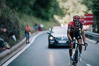 Greg Van Avermaet (BEL/BMC) up the final climb of the day (in Spain!): the Col du Portillon (Cat1/1292m)<br /> <br /> Stage 16: Carcassonne &gt; Bagn&egrave;res-de-Luchon (218km)<br /> <br /> 105th Tour de France 2018<br /> &copy;kramon