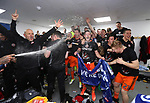 Sheffield United's players celebrates promotion during the League One match at the Sixfields Stadium, Northampton. Picture date: April 8th, 2017. Pic David Klein/Sportimage
