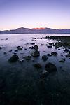 Evening alpenglow on desert coastal mountains, Bahia de los Angeles, Baja California, Mexico
