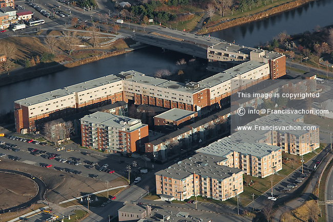 Le Village de L'Anse apartment building in Quebec city is pictured in this aerial photo November 11, 2009. In this picture can be seen the St-Charles river, and the Pont Drouin.