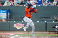 Jason Martin (6) of the Buies Creek Astros at bat against the Winston-Salem Dash at BB&T Ballpark on April 15, 2017 in Winston-Salem, North Carolina.  The Astros defeated the Dash 13-6.  (Brian Westerholt/Four Seam Images)