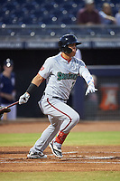 Surprise Saguaros Luis Garcia (7), of the Washington Nationals organization, at bat during an Arizona Fall League game against the Peoria Javelinas on September 22, 2019 at Peoria Sports Complex in Peoria, Arizona. Surprise defeated Peoria 2-1. (Zachary Lucy/Four Seam Images)
