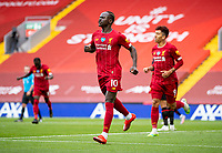 5th July 2020, Anfield, Liverpool, England;  Liverpools Sadio Mane  celebrates scoring a goal during the Premier League match between Liverpool and Aston Villa at Anfield in Liverpool