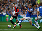 David Brooks of Sheffield Utd challenged by Tom Lees of Sheffield Wednesday during the Championship match at the Hillsborough Stadium, Sheffield. Picture date 24th September 2017. Picture credit should read: Simon Bellis/Sportimage