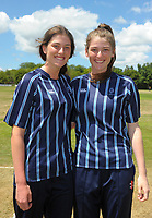 Kate and Georgia Heffernan (St Hilda's Collegiate) during the the New Zealand Secondary Schools 1st XI NZCT girls' cricket national finals at Fitzherbert Park in Palmerston North, New Zealand on Sunday, 3 December 2017. Photo: Dave Lintott / lintottphoto.co.nz