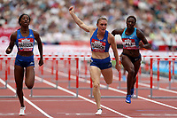 Sally Pearson of Australia and Kendra Harrison of USA compete in the womenís 100 metres hurdles during the Muller Anniversary Games at The London Stadium on 9th July 2017