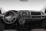 Stock photo of straight dashboard view of 2016 Volkswagen Caravelle Comfortline 5 Door Minivan Dashboard