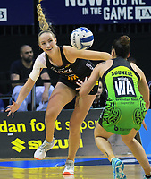 Kelly Jury in action during the ANZ Premiership netball match between Central Pulse and WBOP Magic at TSB Bank Arena in Wellington, New Zealand on Sunday, 21 April 2019. Photo: Dave Lintott / lintottphoto.co.nz