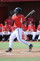 Rutgers University Scarlet Knights outfielder Mike Carter (4) during a game against the University of Cincinnati Bearcats at Bainton Field on April 19, 2014 in Piscataway, New Jersey. Rutgers defeated Cincinnati 4-1.  (Tomasso DeRosa/ Four Seam Images)