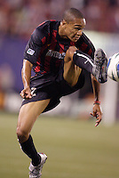The MetroStars' Ricardo Clark. D.C. United defeated the MetroStars 1 to 0 in regular season MLS action on Saturday October 2, 2004 at Giant's Stadium, East Rutherford, NJ..