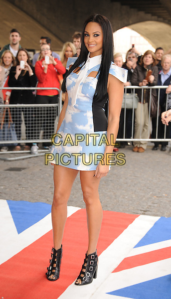 Alesha Dixon .arriving at the press launch for Britains Got Talent at the BFI Southbank, London, England..22nd March 2012  .bgt full length white blue dress off the shoulder sky cloud clouds print black ankle buckles sandals shoes .CAP/WIZ.© Wizard/Capital Pictures.