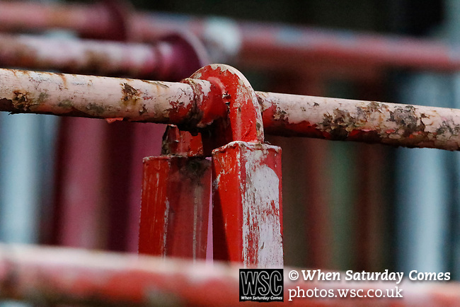 Wrexham 2 Ebbsfleet United 0, 18/11/2017. The Racecourse Ground, National League. Barriers in the Kop end of the Racecourse Ground. Photo by Paul Thompson.