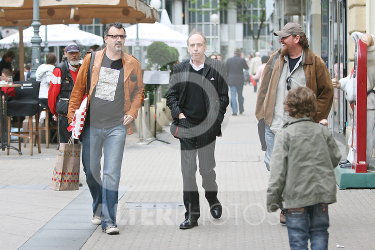 08.05.2010., Zagreb, Croatia - Former member of group The Clash, Mick Jones, visited Zagreb. He walked to the city and bought old records of old national stars. Mick Jones, Aleksandar Dragas and Arsen Oremovic.Foto: nph / Jakus