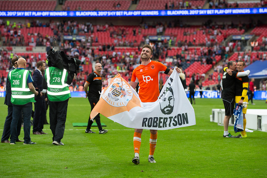 Blackpool's Clark Robertson celebrates after the match<br /> <br /> Photographer Craig Mercer/CameraSport<br /> <br /> The EFL Sky Bet League Two Play-Off Final - Blackpool v Exeter City - Sunday May 28th 2017 - Wembley Stadium - London<br /> <br /> World Copyright &copy; 2017 CameraSport. All rights reserved. 43 Linden Ave. Countesthorpe. Leicester. England. LE8 5PG - Tel: +44 (0) 116 277 4147 - admin@camerasport.com - www.camerasport.com