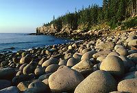 Eroded Rocks on the coast of Maine, Acadia National Park. Maine USA Mount Desert Isle.