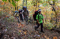 hike backpack trail the priest woods exercise