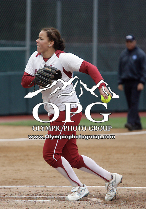 28 May 2010:  Oklahoma starting pitcher #10 Keilani Ricketts fires the ball to the plate against Washingto.  Washington defeated Oklahoma 3-0 in the second game of the NCAA Super Regional at Husky Softball Stadium in Seattle, WA.
