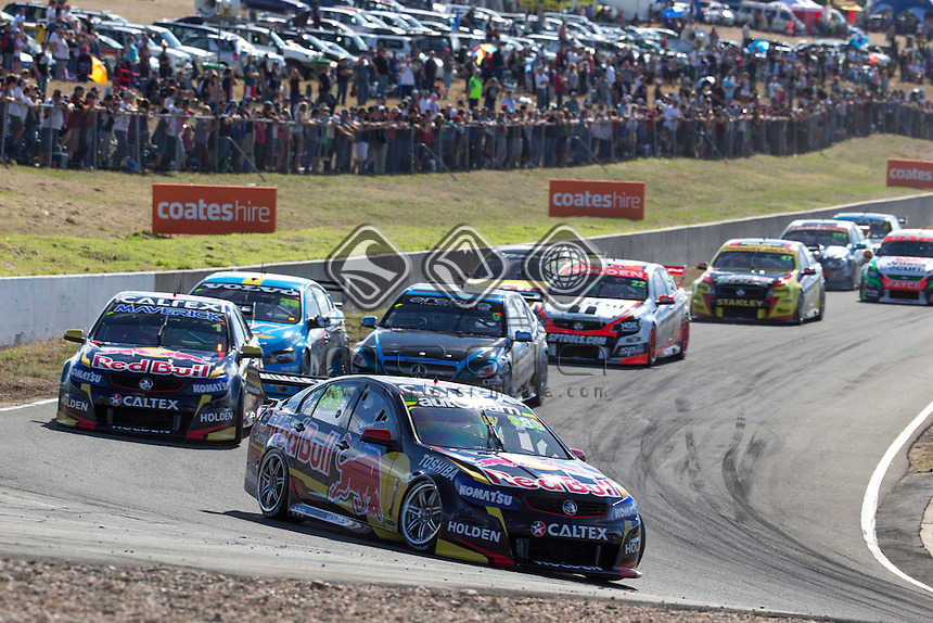 Craig Lowndes of Red Bull Racing Australia winner of race 3 of the TYREPOWER TASMANIA 400, Event 02 of the 2014 Australian V8 Supercars Championship Series at the Symmons Plains Raceway, Launceston, Tasmania, March 30, 2014.<br /> &copy; Sport the library / Mark Horsburgh