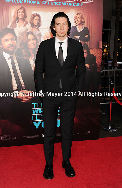 HOLLYWOOD, CA- SEPTEMBER 15: Actor Adam Driver arrives at the 'This Is Where I Leave You' - Los Angeles Premiere at TCL Chinese Theatre on September 15, 2014 in Hollywood, California.