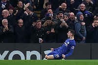 Mason Mount celebrates scoring Chelsea's second goal during Chelsea vs Aston Villa, Premier League Football at Stamford Bridge on 4th December 2019