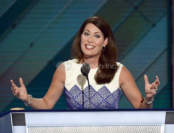 Secretary of State Alison Lundergan Grimes (Democrat of Kentucky) makes remarks during the second session of the 2016 Democratic National Convention at the Wells Fargo Center in Philadelphia, Pennsylvania on Tuesday, July 26, 2016.<br /> Credit: Ron Sachs / CNP/MediaPunch<br /> (RESTRICTION: NO New York or New Jersey Newspapers or newspapers within a 75 mile radius of New York City)