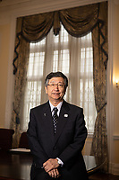 Japanese Ambassador to the UK, Koji Tsuruoka , photographed in his office at the Japanese Embassy in London. Tsuruoka is en experienced trade negotiator. He has warned the United Kingdom about the dangers of Brexit.