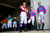 LOUISVILLE, KY - MAY 04: Mike Smith and other jockeys wait in the tunnel before joining in the Survivor's Parade as a show of support on Kentucky Oaks Day at Churchill Downs on May 4, 2018 in Louisville, Kentucky. (Photo by Scott Serio/Eclipse Sportswire/Getty Images)